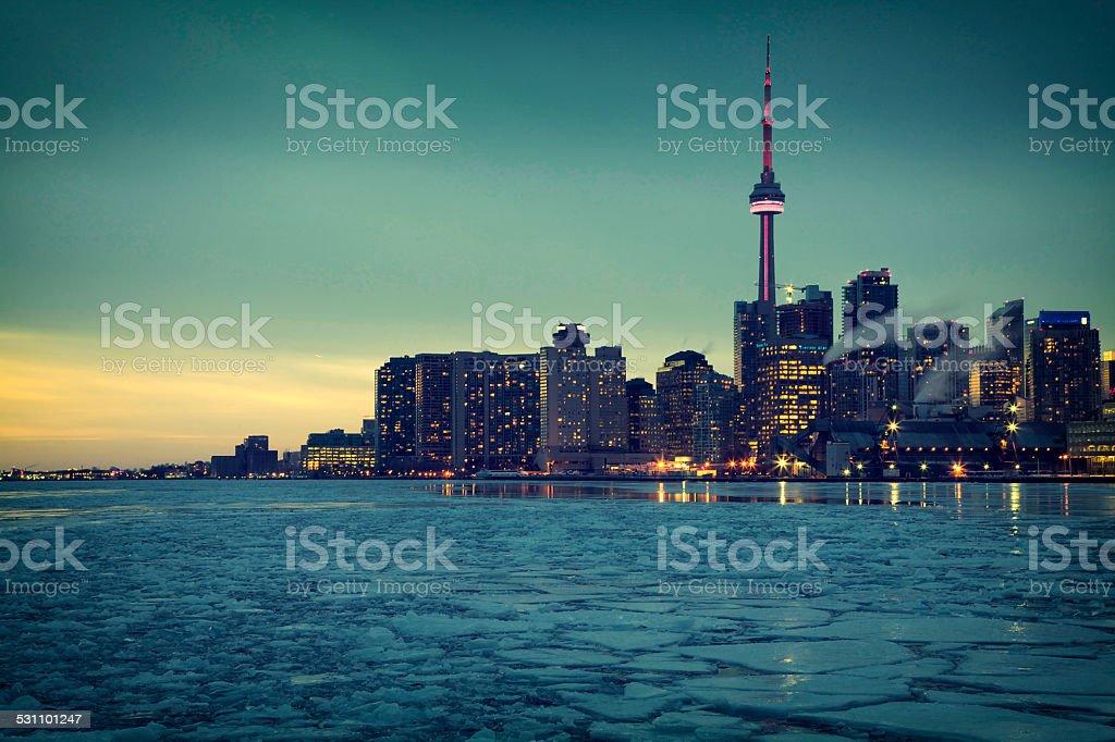 One Winter night in Toronto stock photo