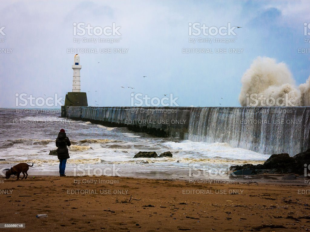 One Woman and Dog at Lighthouse Engulfed in Storm Waves stock photo