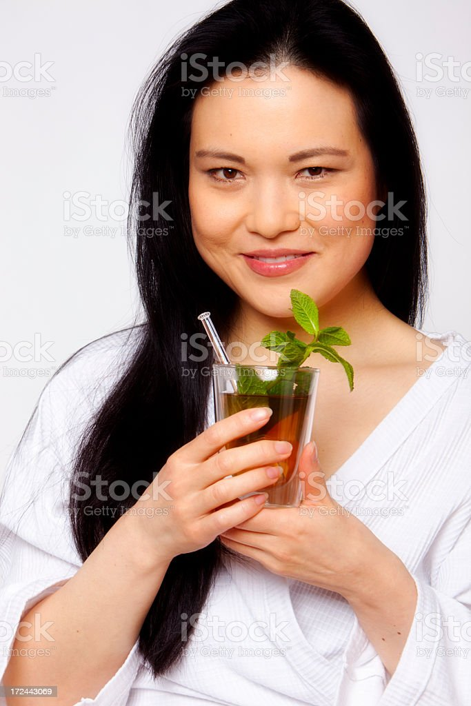 One woman drinking tea royalty-free stock photo