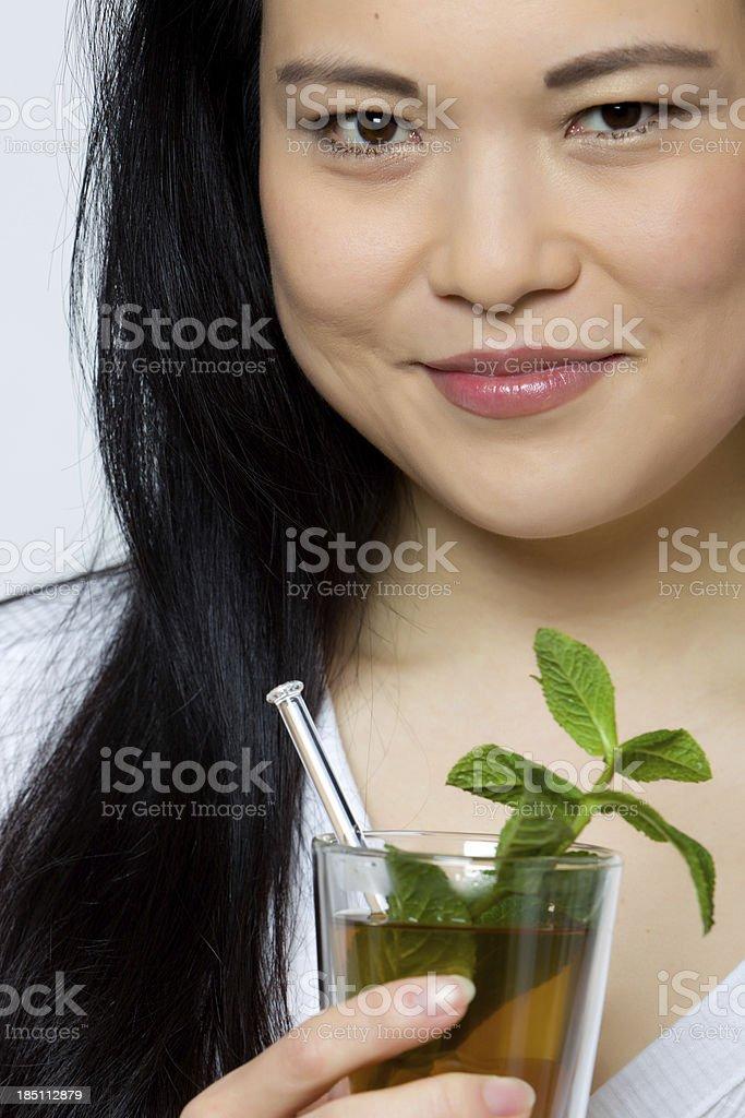 One woman drinking tea stock photo