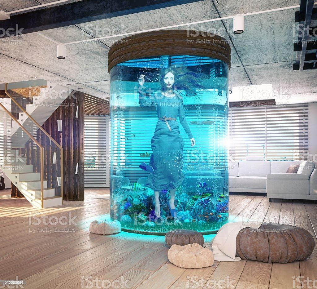 one woman in the  aquarium stock photo