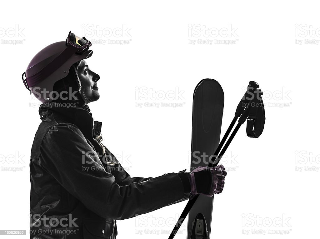 one woman skier silhouette royalty-free stock photo