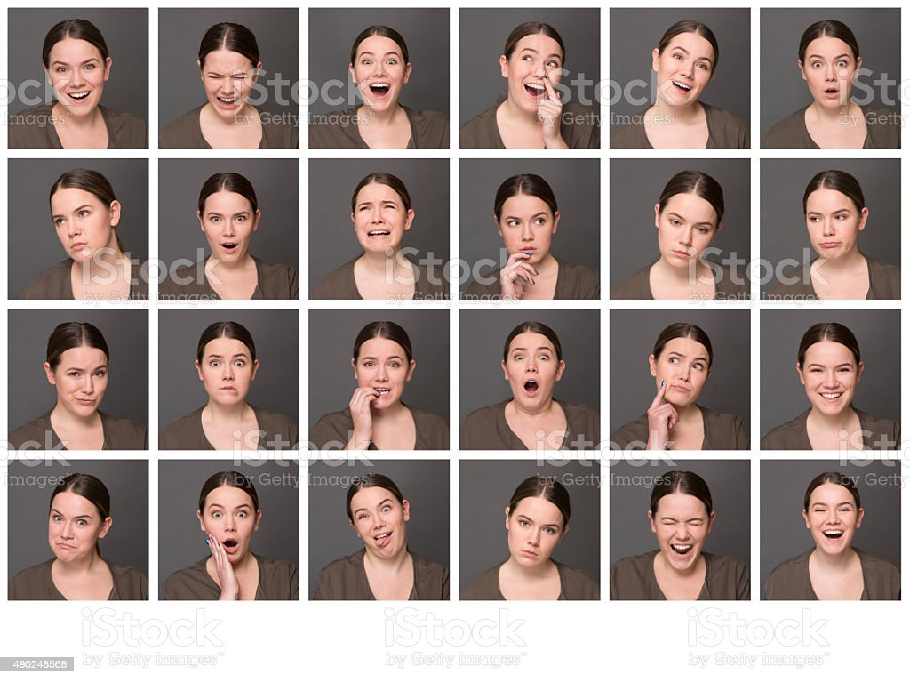 One woman with different emotions stock photo