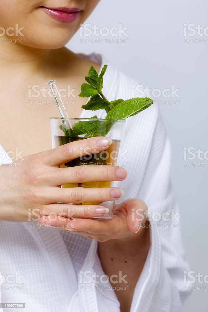 One woman with mint tea stock photo