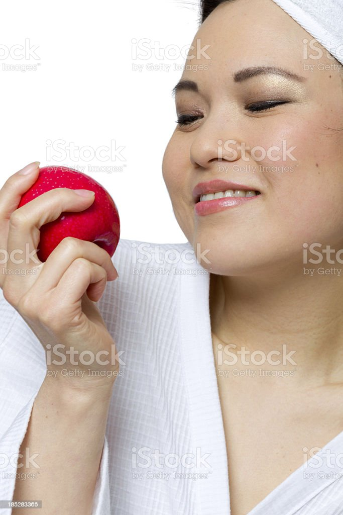 One woman with red apple stock photo