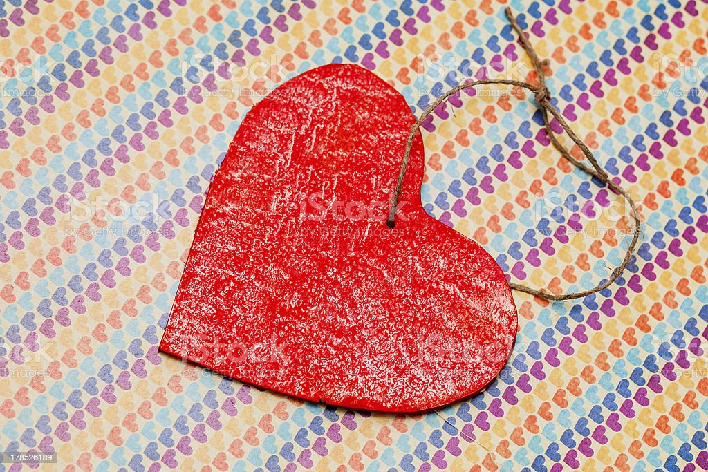 one wooden red heart royalty-free stock photo
