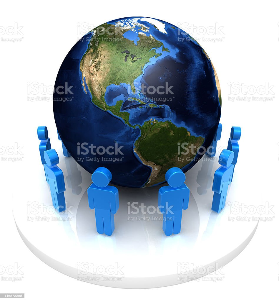 One World and a Group of Men royalty-free stock photo