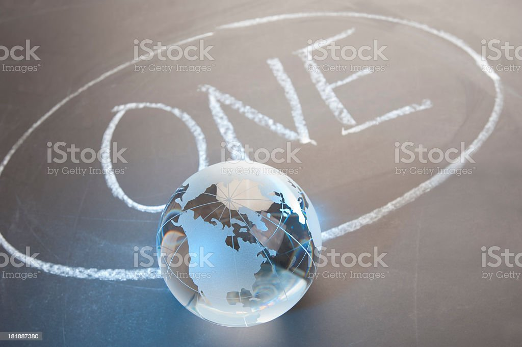 One world concept with globe stock photo