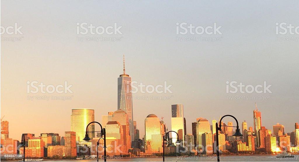 One World Tower Sunset Landscape stock photo