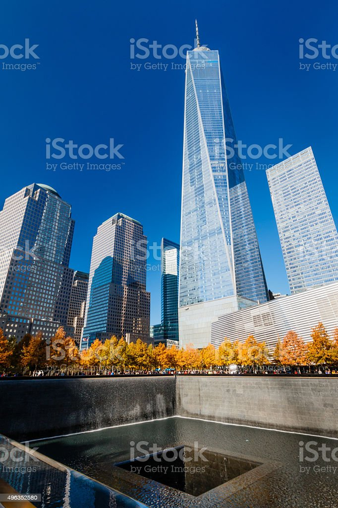 One World Trade Center and 9/11 Memorial Pool stock photo