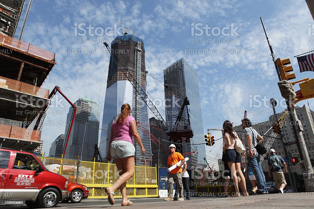 One World Trade Center and Ground Zero construction site stock photo