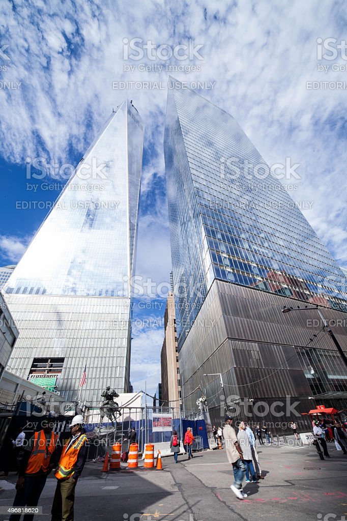 One World Trade Center and Seven World Trade Center. NYC. stock photo