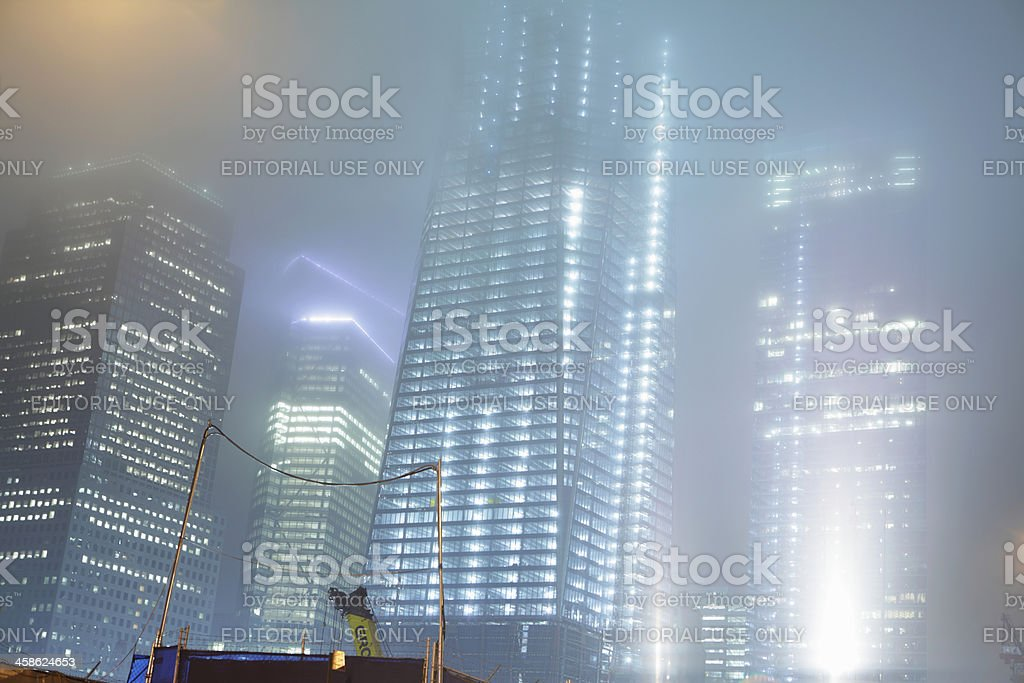 One World Trade Center construction site NYC foggy night stock photo