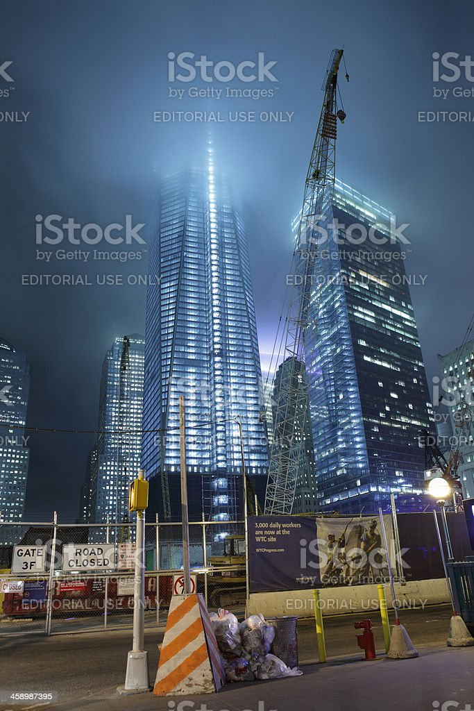 One World Trade Center downtown NYC on a foggy night stock photo
