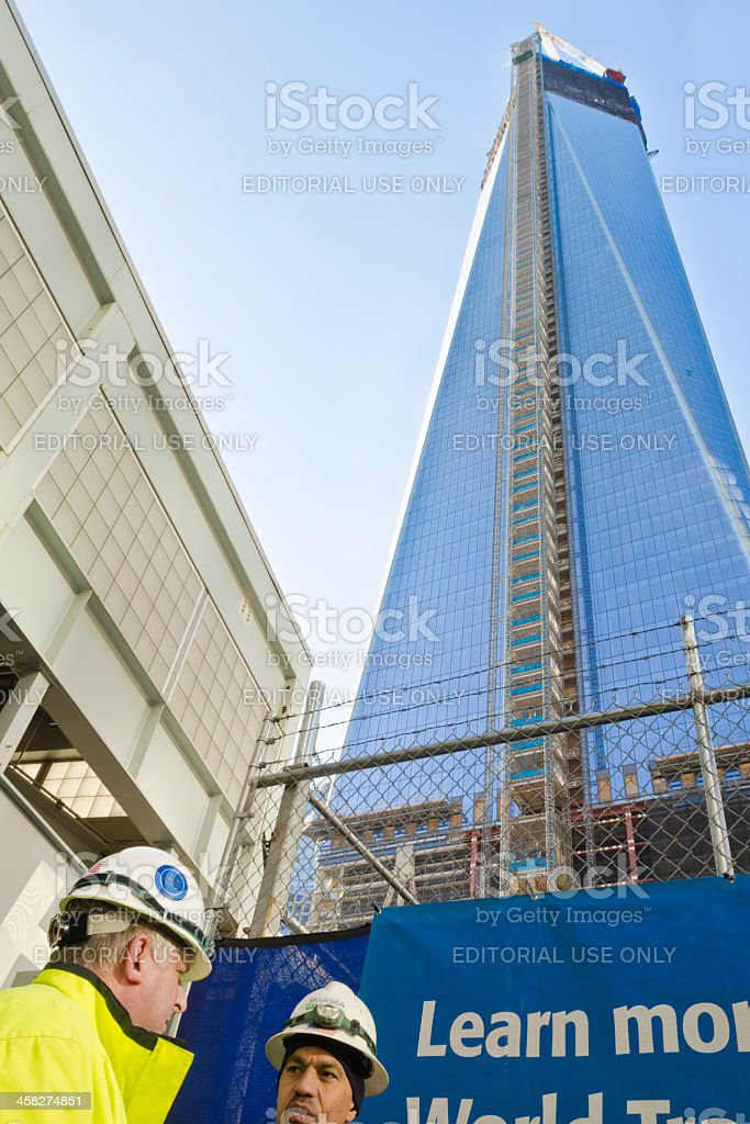 One World Trade Center, Freedom Tower, Construction Workers royalty-free stock photo