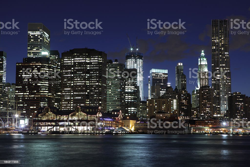 One World Trade Center rises in NYC night stock photo