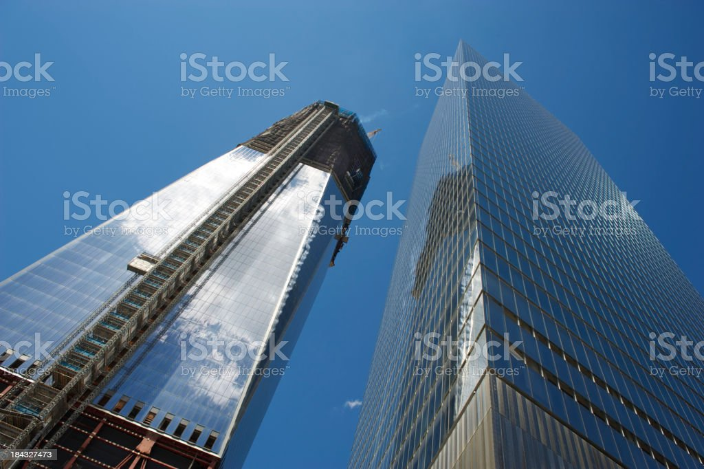 One World Trade Center Under Construction with Skyscraper stock photo