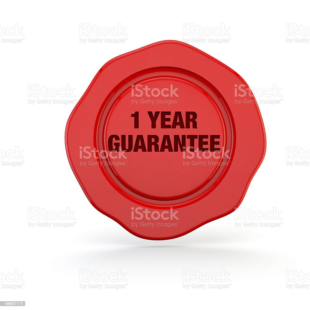 one year guarantee stamp or seal or symbol stock photo