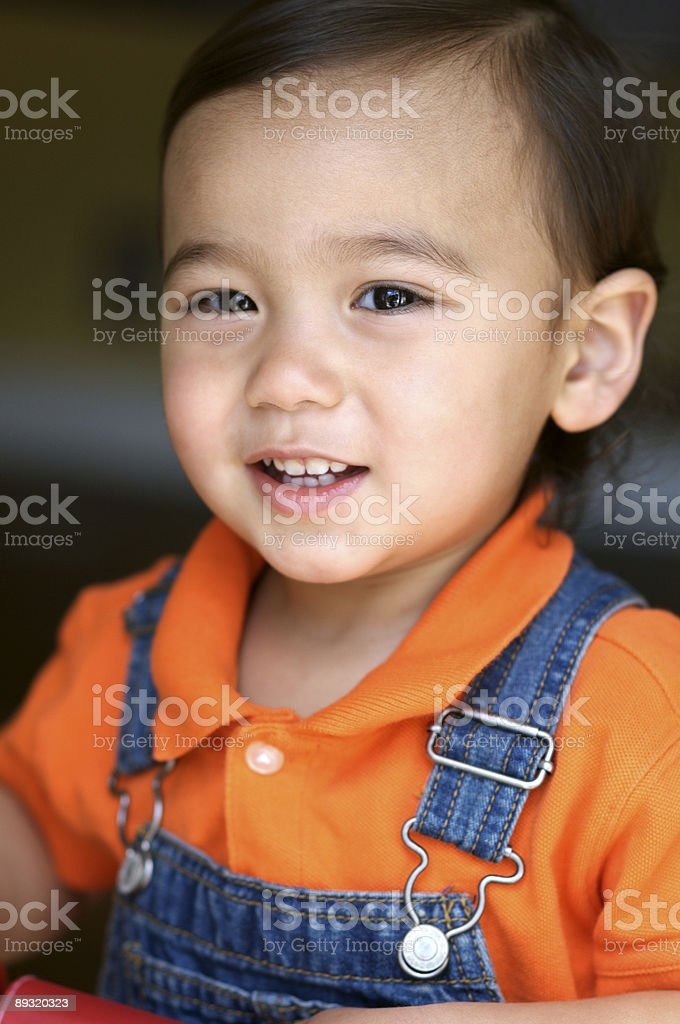 One Year Old Asian Caucasian Boy stock photo