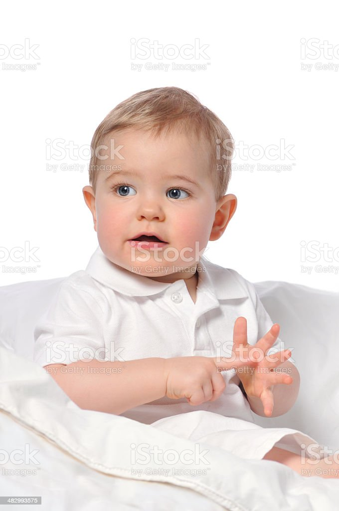 One Year Old Baby Boy Using Sign Language to Communicate stock photo