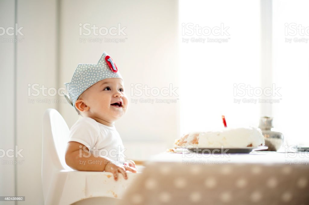One Year Old boy celebrating birthday stock photo