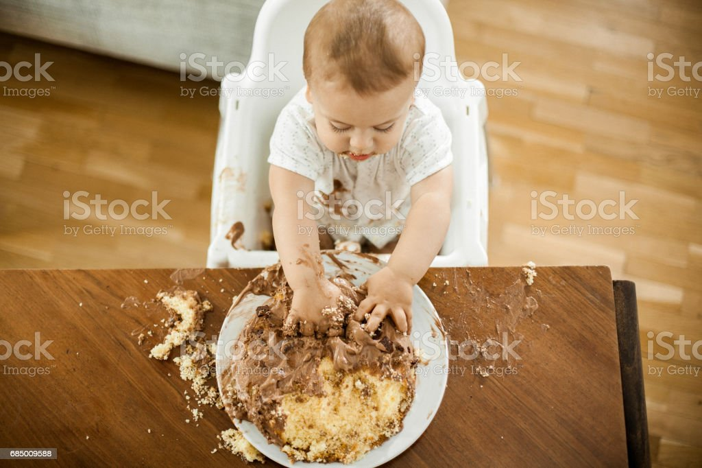 One Year Old boy celebrating brithday stock photo