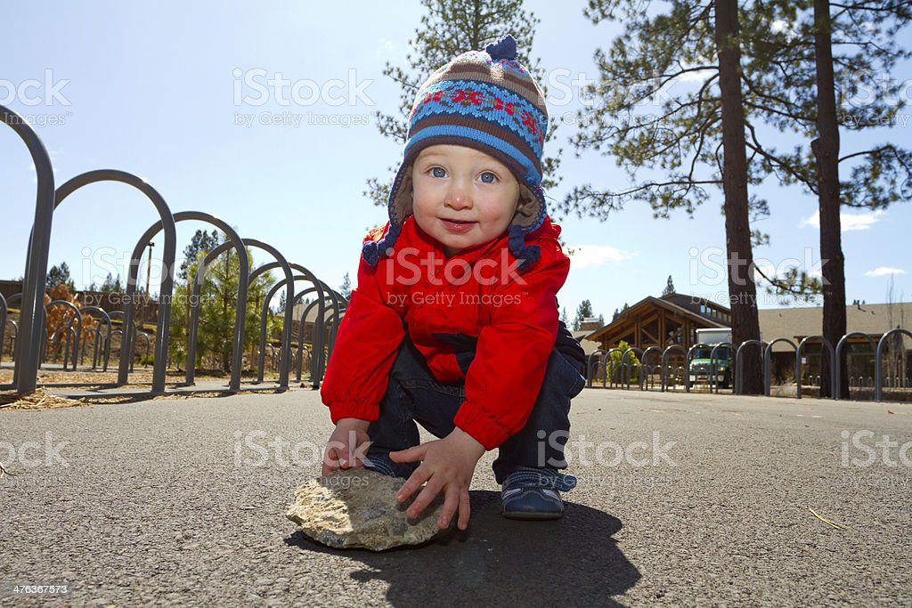 One Year Old Playing at Park royalty-free stock photo
