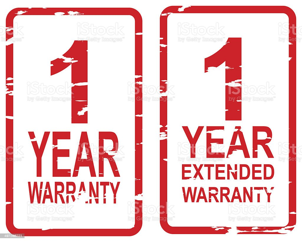 One Year Warranty Stamps stock photo