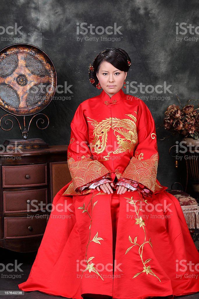 one young chinese women stock photo