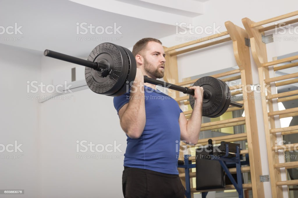 one young man only, Weight Bar, fitness stock photo