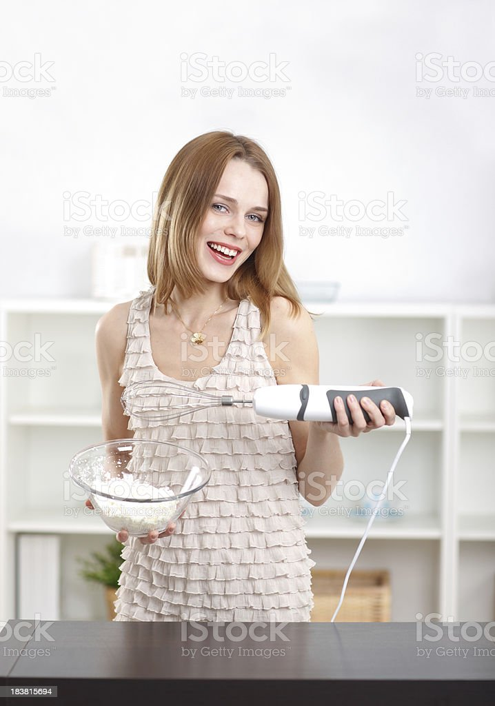 One young women in the kitchen royalty-free stock photo