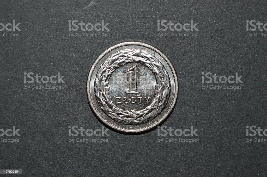 Una moneda zloty polaco dinero pln foto de stock libre de derechos