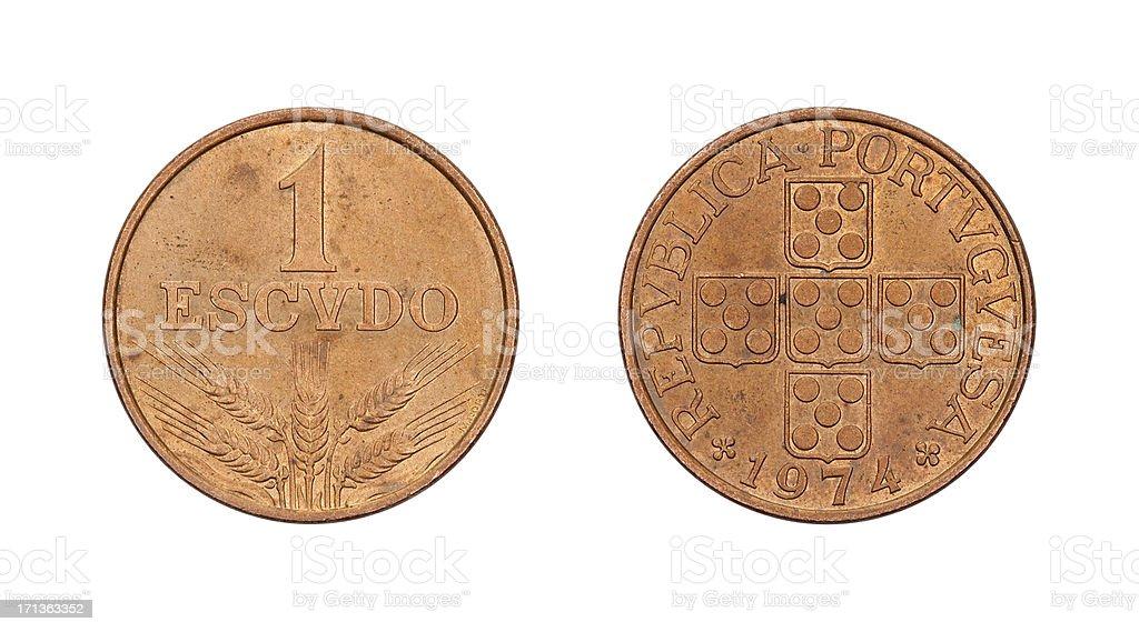 One-Escudo-Coin, Portugal, 1974 stock photo