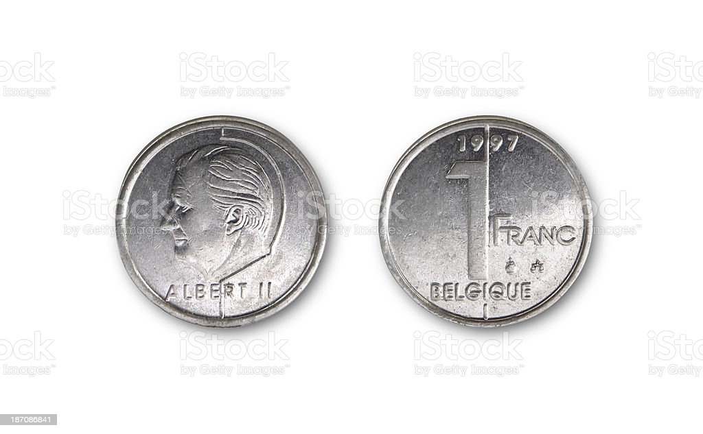 One-Franc-Coin, Belgium, 1997 royalty-free stock photo