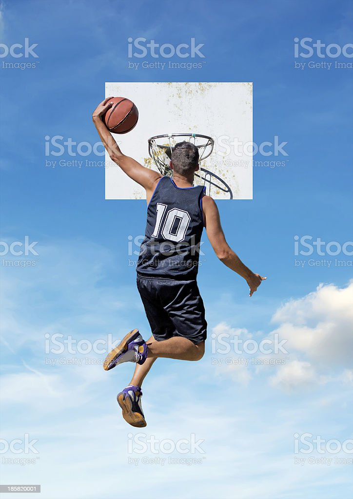 one-handed dunk royalty-free stock photo
