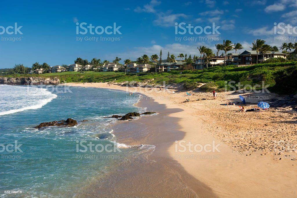 Oneloa or Ironwoods Beach, west coast of Maui, Hawaii stock photo