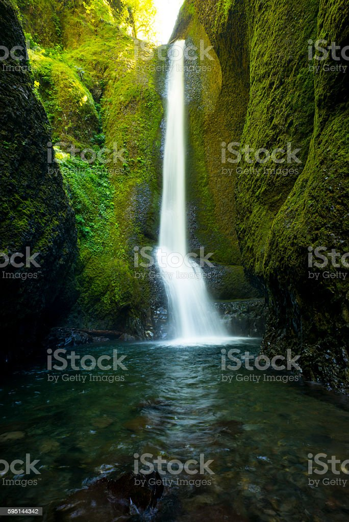 Oneonta Gorge waterfall in the Columbia River Gorge, Oregon stock photo