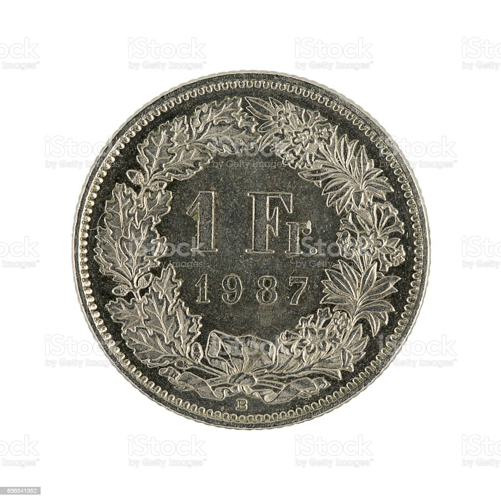 ones wiss franc coin (1987) isolated on white background stock photo