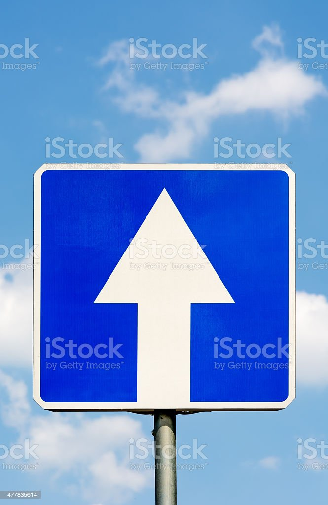 One-Way traffic road sign. stock photo