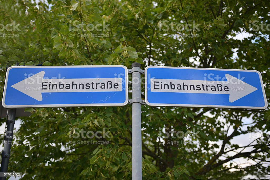 One-Way-Signs in Two Directions stock photo