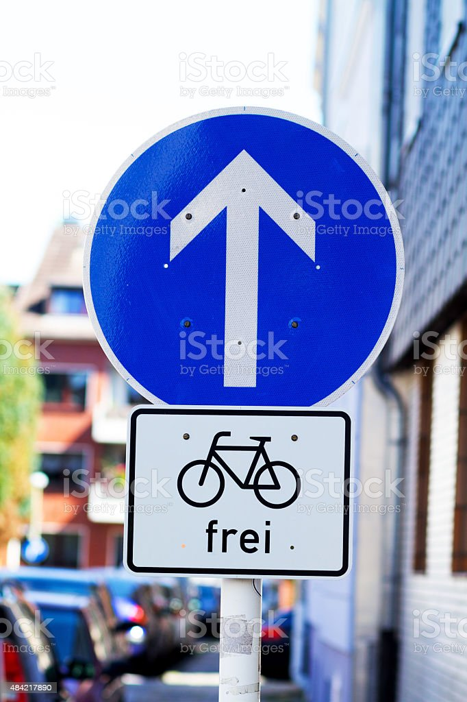 One-Way-Street free for bicycles stock photo