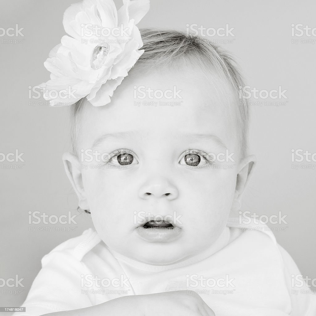 One-year old baby portrait in black and white royalty-free stock photo
