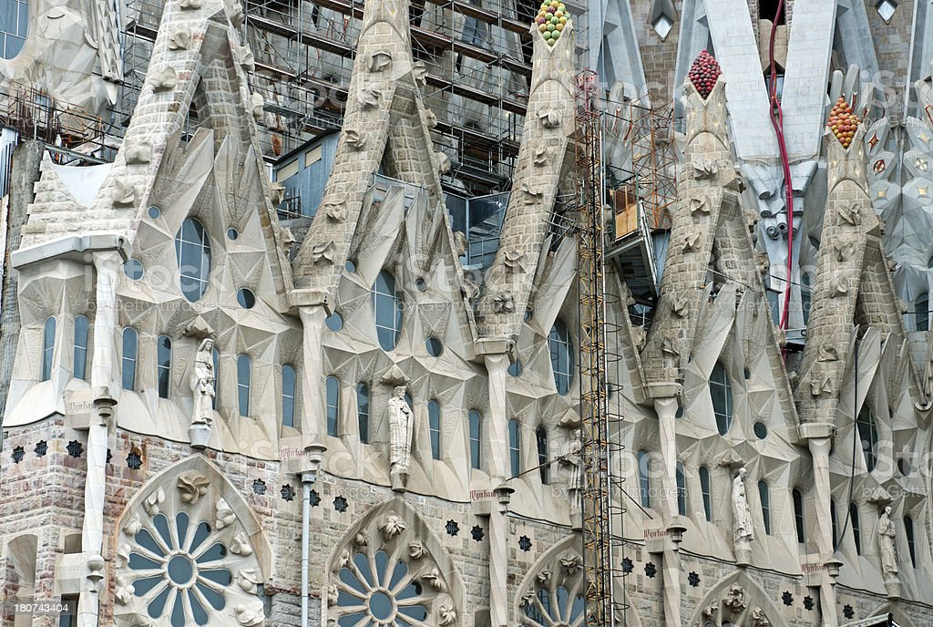 Ongoing construction on Sagrada Familia Cathedral in Barcelona royalty-free stock photo