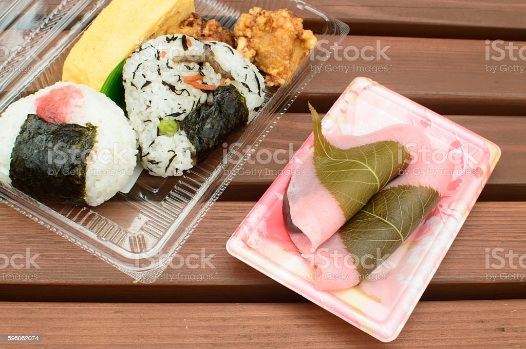 onigiri set with sakura mochi, stock photo