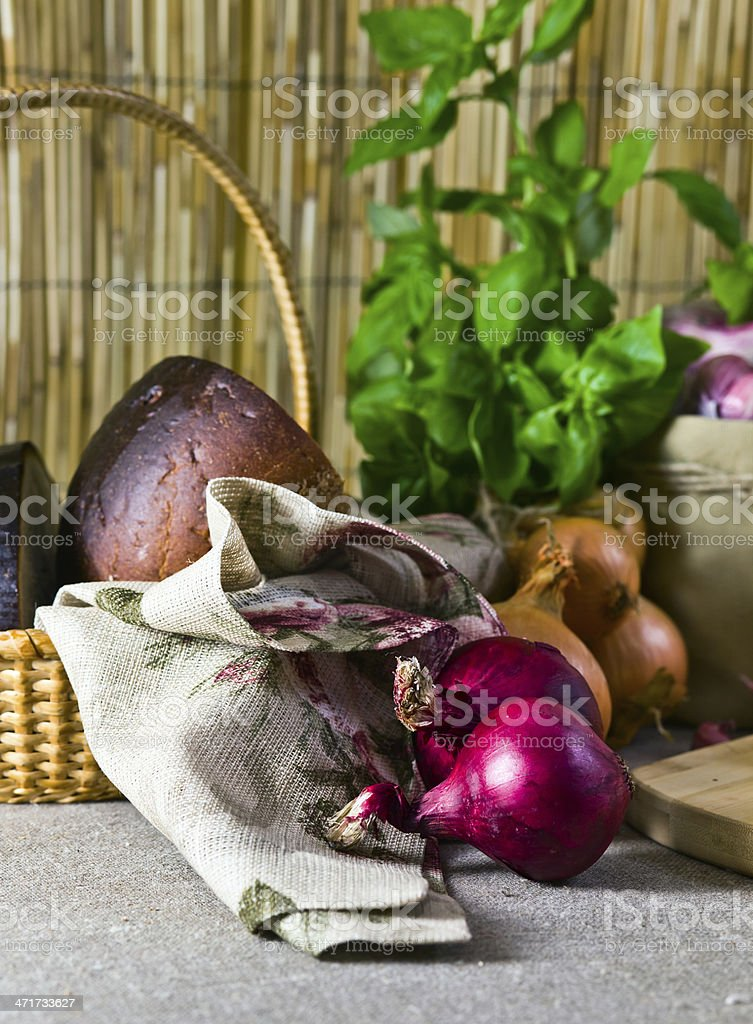 onion and bread royalty-free stock photo