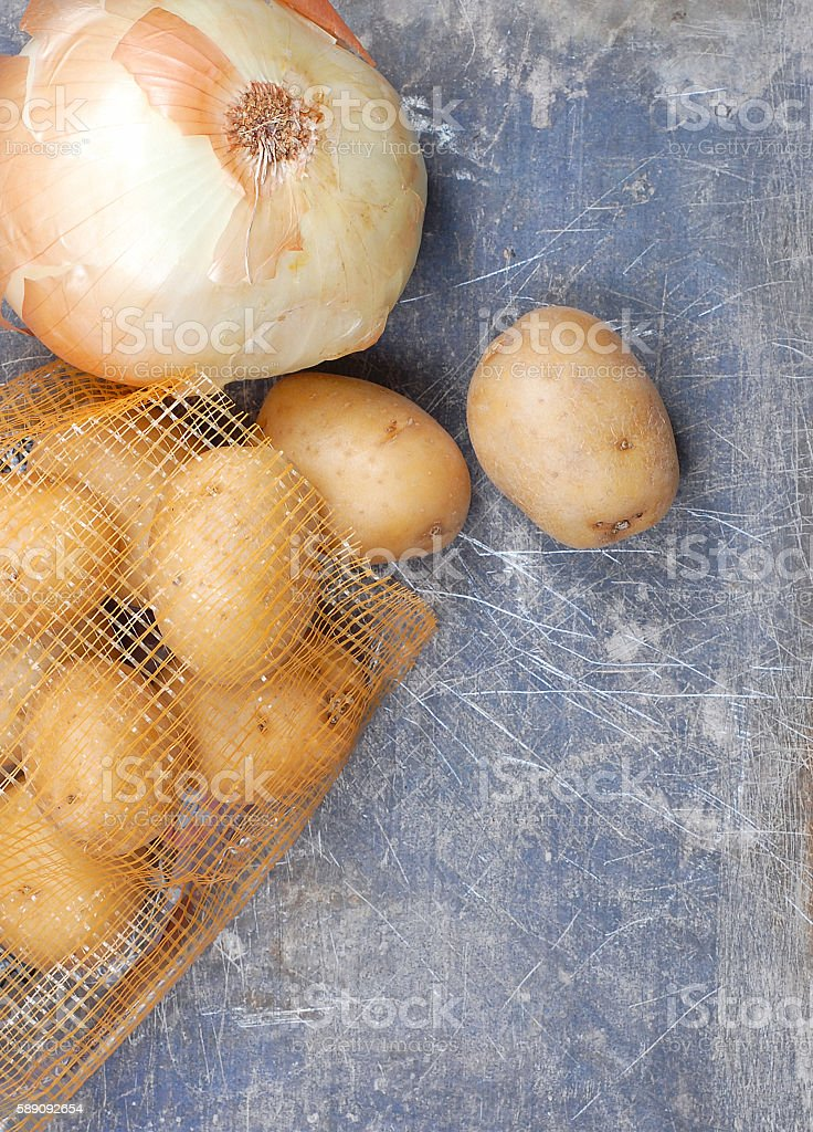 Onion and Potatoes stock photo