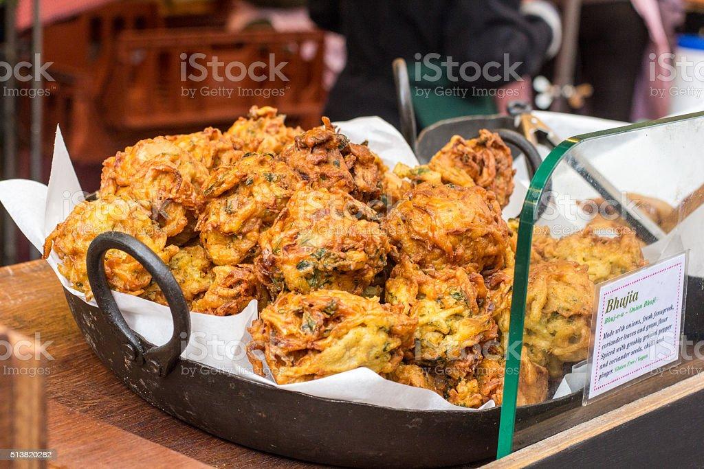 Onion Bhaji in Borough Market, London stock photo