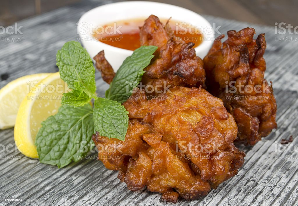Onion Bhajis with Mango Chutney royalty-free stock photo