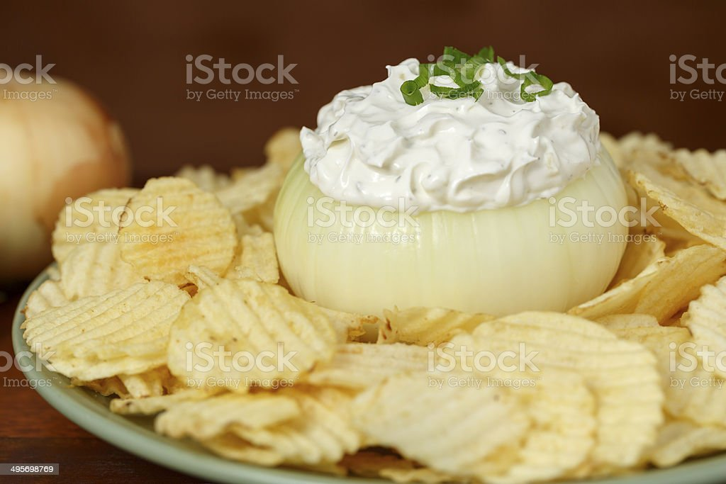 Onion Dip & Chips stock photo