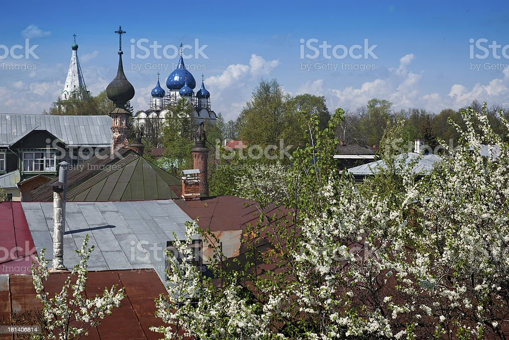 Onion domes of Suzdal royalty-free stock photo